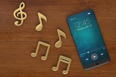 Note di musica e concetto dell'audio dello Smart Phone illustrazione 3D illustrazione di stock