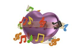Note di musica e della Purple Heart al valor militare illustrazione 3D illustrazione di stock