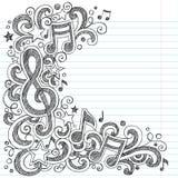 Note di musica e Doodles imprecisi della classe di musica della chiave di G Fotografie Stock