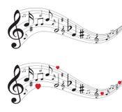 Note di musica, note musicali con i cuori illustrazione di stock