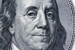 Note di valuta del dollaro. Particolare. Franklin Immagine Stock