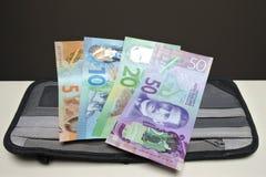 Note di valuta della Nuova Zelanda su un portafoglio fotografia stock libera da diritti