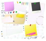 Note, documenti e Thumbtack illustrazione vettoriale