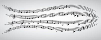 Note, doga, chiave tripla, composizione, musical, modello Immagini Stock