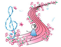 Note e bambina di musica illustrazione di stock