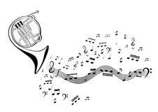 Note e corno francese Immagini Stock Libere da Diritti