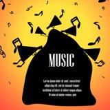 Note e loundspeakers di musica con spazio per testo Immagini Stock Libere da Diritti