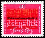 Note e testo da Heinrich Schutz (1585-1672), compositore, 300th anniversario di morte del serie di Heinrich Schutz, circa 1972 immagine stock