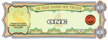 The note for the economic game. One dollar. The note for board games. Disassembled vector file Corel DRAW X3 Stock Image