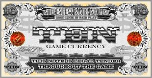 The note for the economic game. Ten dollars. Royalty Free Stock Photos