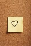 Note en forme de coeur Photographie stock libre de droits
