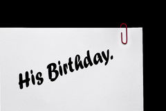 Note et rappel d'anniversaire ! Relations. Photos stock