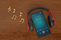 Note et Smart-téléphone de musique avec le concept d'audio d'écouteur illus 3d illustration libre de droits