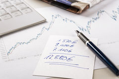 Note exchanges of revenue Stock Photo