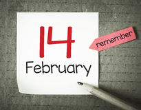 Note with 14 february stock images
