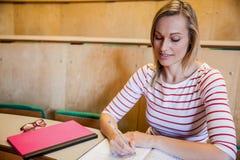 note felici di scrittura della studentessa Fotografie Stock Libere da Diritti