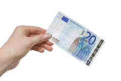 note femelle de main de l'euro 20 Photo stock