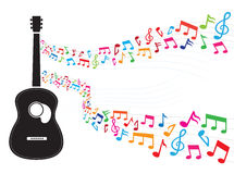 Note floating from guitar Royalty Free Stock Photography