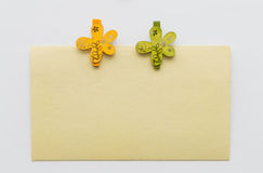 Note with Flower Clips Stock Images