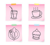 Note food. Note paper the food line Royalty Free Stock Photos