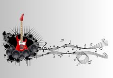 Note fuori della chitarra, note dell'icona della mosca della chitarra Fotografia Stock