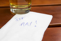 Note with german words 'ruf an' (call me) Stock Photography