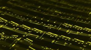 Note gialle di musica Fotografia Stock Libera da Diritti