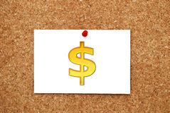 Note gold dollar Royalty Free Stock Photography