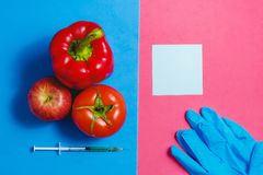 Note, Green Liquid in Syringe, Red Tomato, Apple, Pepper, Blue Gloves. Genetically Modified Food Concept on Pink Blue. Note, Green Liquid in Syringe, Red Tomato stock photos