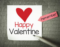 Note with Happy Valentine Royalty Free Stock Photo