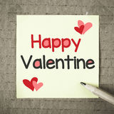 Note with Happy Valentine Stock Photography