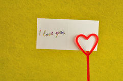 A note holder with a red heart Stock Images