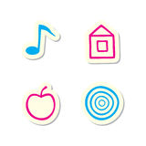 Note, Home, Apple and Target Icons Stock Image
