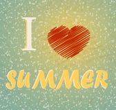 Note I heart summer Grunge style vector illustration