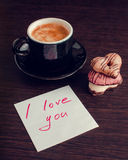 Note I love you with cup of coffee and cookies Royalty Free Stock Photo