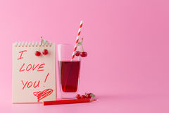Note I love you with a heart Stock Images