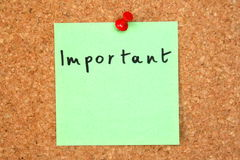 note importante Photographie stock