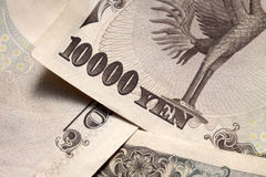 note japonaise proche de 10000 derrières vers le haut de Yens Photo stock