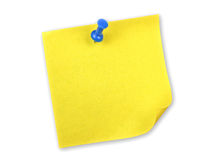 Note jaune avec la broche Photographie stock