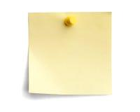 Note jaune avec la broche jaune Images libres de droits