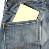 Note in jean pocket Royalty Free Stock Photo