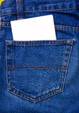 Note in jeans pocket Royalty Free Stock Photo