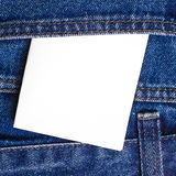 Note in jeans pocket Royalty Free Stock Image
