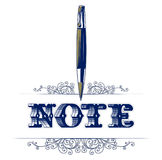 Note lace pattern with pen Stock Photo