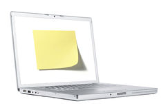 Note on laptop Royalty Free Stock Image