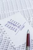 A note with the lose selection of the winning codes on bookmakers Stock Image
