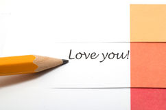 A note with love you text Stock Photos