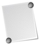 Note with magnets. A note with square pattern attached with 2 magnets Stock Illustration