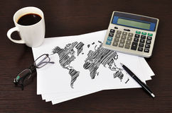Note map world Royalty Free Stock Photos