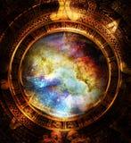 Note maya antique de calendrier et de musique, l'espace cosmique avec des étoiles, fond abstrait de couleur, collage d'ordinateur Image stock